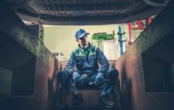Deprimierter Auto-Mechaniker Stockfotografie