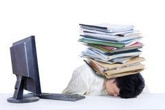 Deprimierter fetter Geschäftsmann in Büro 1 Stockfotos