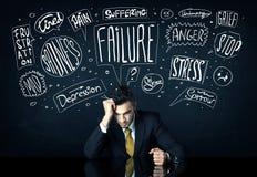 Deprimierter Geschäftsmann, der unter Problemgedankenkästen sitzt Lizenzfreie Stockfotos