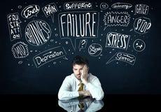 Deprimierter Geschäftsmann, der unter Problemgedankenkästen sitzt Stockbilder