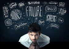 Deprimierter Geschäftsmann, der unter Problemgedankenkästen sitzt Lizenzfreie Stockbilder