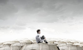 Deprimierter Geschäftsmann isoliert Stockbilder