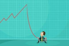 Deprimierter Geschäftsmann, der Verlustpfeil hält Lizenzfreie Stockfotos