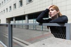 Deprimierter junger femal Läufer Stockbild