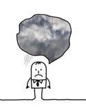 Deprimierter Karikaturmann, der an wolkiges Wetter denkt Lizenzfreies Stockbild