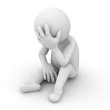 Deprimierter Mann 3d, der über Weiß sitzt Lizenzfreies Stockfoto