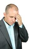 Deprimierter Mann auf weißem Hintergrund Lizenzfreies Stockbild