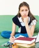 Deprimierter weiblicher Student Stockbild