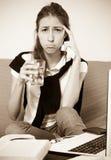 Deprimierter weiblicher Student Stockfotografie
