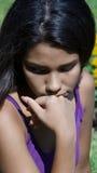 Deprimiertes einsames Mädchen Stockbilder