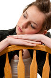 Deprimiertes Frauen-Sitzen Stockbild