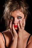 Deprimiertes Frauenportrait Stockfoto