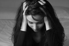 Deprimiertes Frauenportrait Stockfotografie