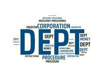 DEPT - изображение при слова связанные с НЕСОСТОЯТЕЛЬНОСТЬЮ темы, слово, изображение, иллюстрация иллюстрация вектора
