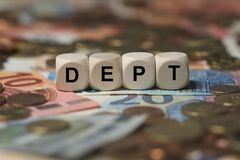 DEPT -与词与题目不能溶解相关,词,图象,例证的图象 免版税库存照片