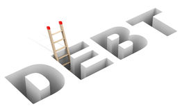 The dept solution. 3d generated picture of a debt solution concept royalty free illustration