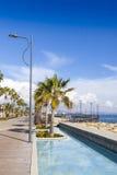 Deptak aleja przy Molos parkiem w centrum Limassol, Cypr Zdjęcia Stock
