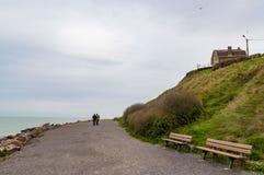 Deptak blisko nadbrzeża przy Wimereux, Pas de Calais, Francja Zdjęcia Stock