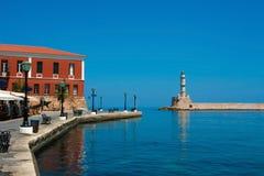Deptak i latarnia morska w Chania, Crete, Grecja Zdjęcie Stock