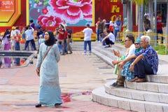 Deptak w Kuala Lumpur, Malezja i miejscowych zlewać, zdjęcia royalty free
