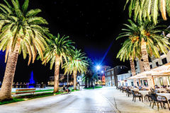 Deptak w Tivat, Montenegro w nocy Obrazy Royalty Free