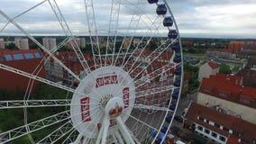 Deptaka Gdański, powietrzny fooftage nadwodny, lot nad rzecznym MotÅ 'awa w Gdańskim, Polska, 07 2016, powietrzny materiał filmow zbiory wideo