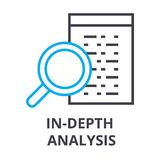 In depth analysis thin line icon, sign, symbol, illustation, linear concept, vector royalty free illustration