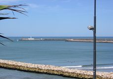 In depth the Christ of the southern breakwater of the city of Mar del Plata Buenos Aires Argentin. A Royalty Free Stock Image