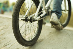 Depth of field, bike details, type and frame Royalty Free Stock Image