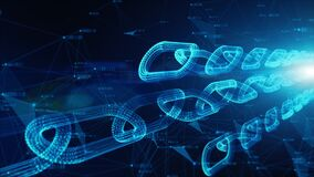 Depth of field, Network Chain Links Connections, Crypto currency connected and Digital technology network abstract background