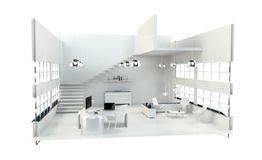 Depth of focus on modern white office interior 3D rendering Stock Image