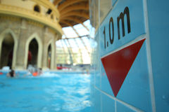 Depth gauge in the pool at the water park Caribia Royalty Free Stock Photos