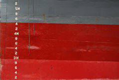 Water Depth Markings on Ship Hull Royalty Free Stock Photo
