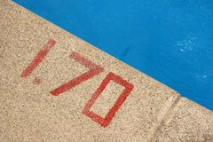 Depth sign. Sign of the swimming pool depth Stock Photography