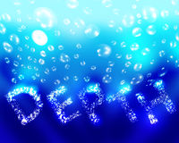 Depth under water. With bubbles background Stock Photo