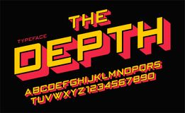 The Depth vector decorative font design, alphabet, typeface, typ. Ography, letters and numbers. Swatch color control Stock Photos