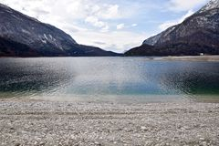 Depth view of   lake molveno  italy Royalty Free Stock Photo