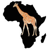 In the depths of Black Africa. Illustration representing the idea of a safari in Africa, with the giraffe as a symbol of nature parks Royalty Free Stock Photos