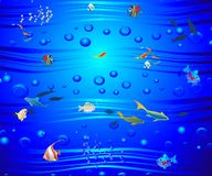In the depths of the sea. Composition showing life in the deep sea Royalty Free Stock Images
