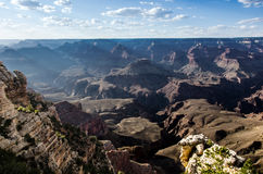 The Depths. Sun rays illuminating the depths of the Grand Canyon from Mather Point in Grand Canyon National Park Royalty Free Stock Photography