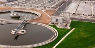 Depuradora de aguas residuales biológica Imágenes de archivo libres de regalías