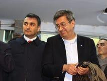Deputies Muslim SARI, Kadir Gokmen OGUT. ISTANBUL - MARCH 16, 2014: CHP Istanbul deputies Muslim SARI and Kadir Gokmen OGUT attend the main opposition Republican Royalty Free Stock Photos