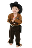 Deputy. Three year old boy dressed in cowboy, deputy costume Royalty Free Stock Photos
