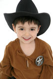 Deputy. Three year old boy dressed in cowboy, deputy costume Royalty Free Stock Photography