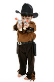Deputy. Three year old boy dressed in cowboy, deputy costume Royalty Free Stock Images