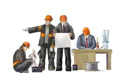 Deputy director, welder, electrician, project manager, architect, jack hammer worker. Builders working on construction works illustration Royalty Free Stock Photo