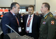 Deputy Ministers of the Interior of Russia Sergey Gerasimov and Viktor Zolotov at the international exhibition `Interpolitex` Stock Image