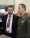 Deputy Ministers of the Interior of Russia Sergey Gerasimov and Viktor Zolotov at the international exhibition `Interpolitex` Royalty Free Stock Photography