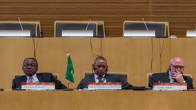 Deputy PM of Ethiopia, Deputy Chair of the AUC, and Günter Nooke at the 2015 eLearning Opening. Addis Ababa - May 20: Deputy PM of Ethiopia, Deputy Chair of royalty free stock image