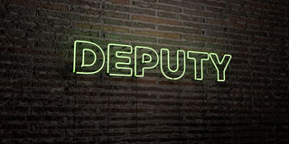 DEPUTY -Realistic Neon Sign on Brick Wall background - 3D rendered royalty free stock image Royalty Free Stock Photography